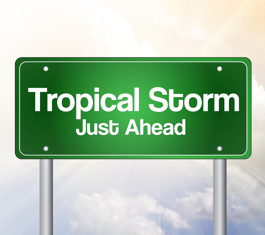 tropical storm ahead sign