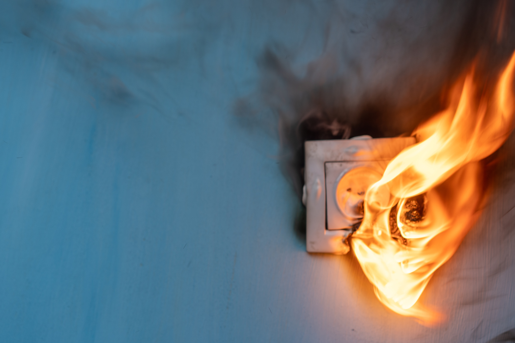 Apartment fire is caused by electrical outlet faults.